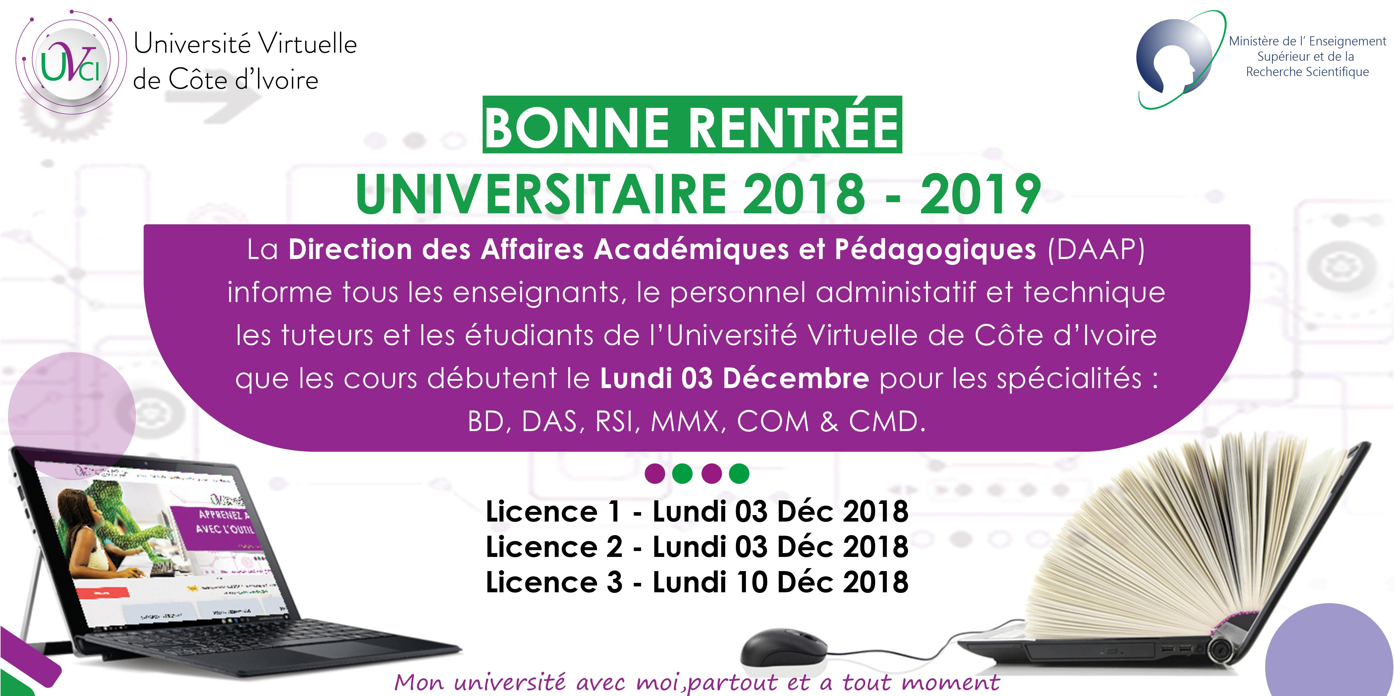 Rentree Universitaire 2018 2019 A L Uvci